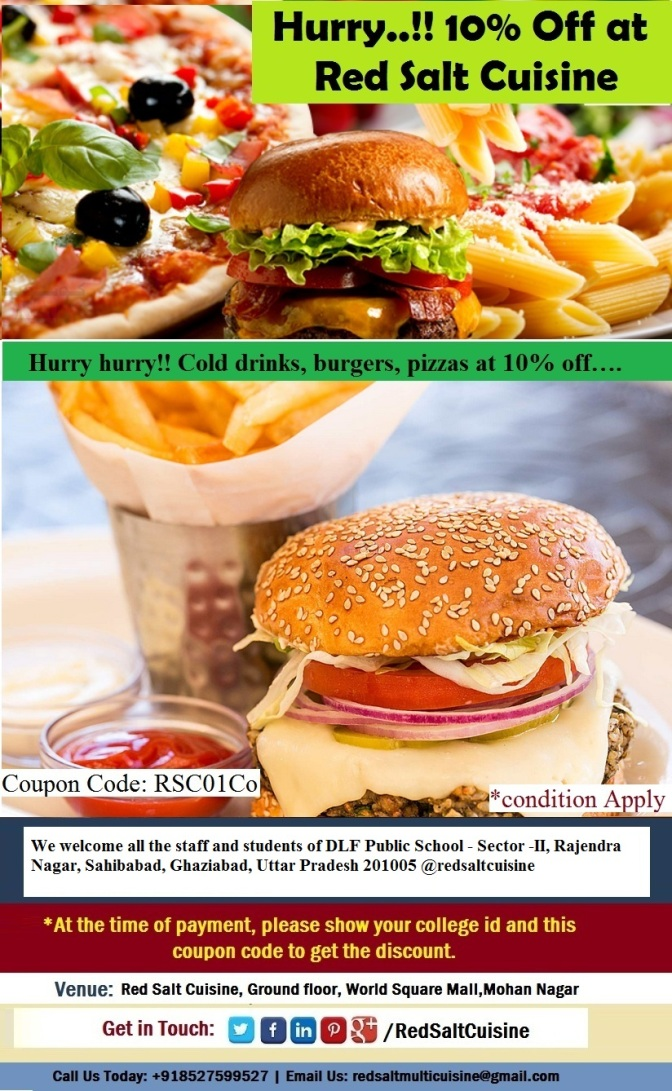 10% off on all meal for DLF Public School students and staff, Ghaziabad  - red salt cusine