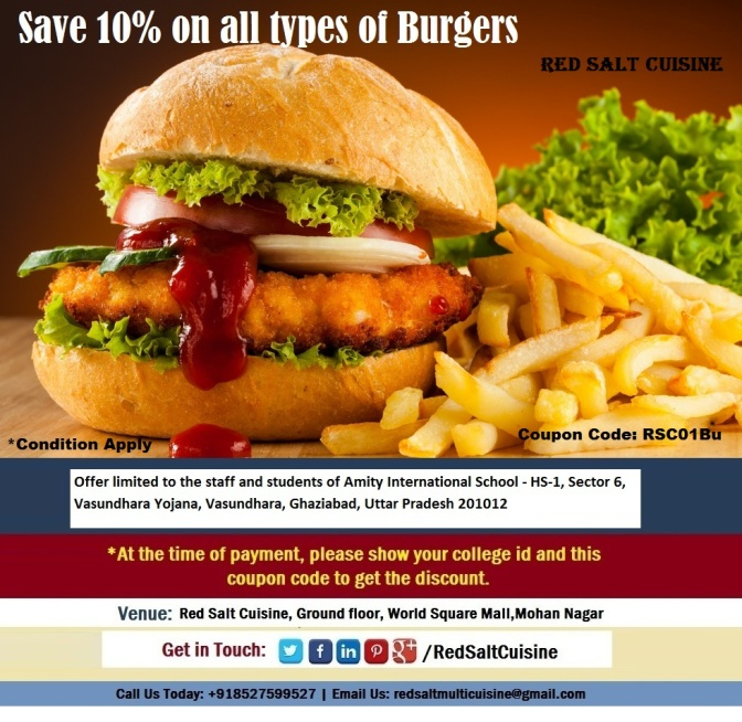 10% off on Burgers for Amity International School, Ghaziabad - Read Salt Cuisine