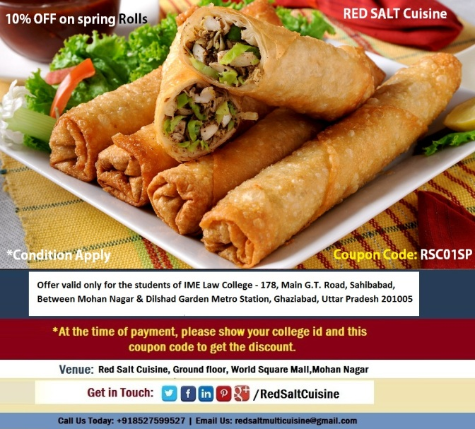 10% off on spring rolls for IME Law College - Red salt cuisine