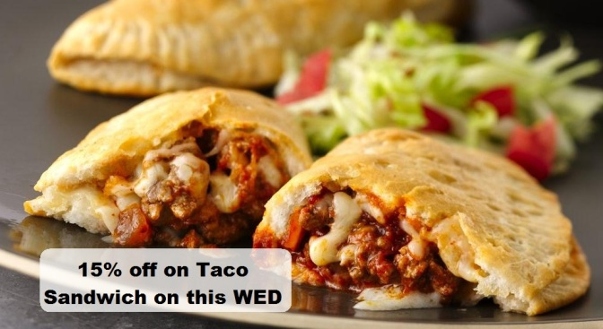 15% off on taco sandwich