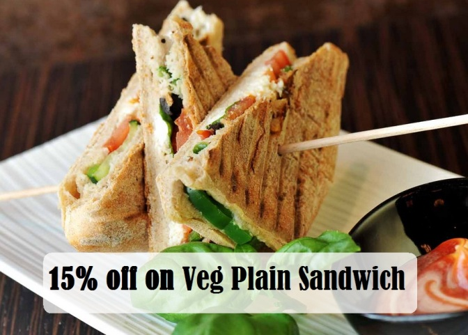 15% off on veg plain sandwich