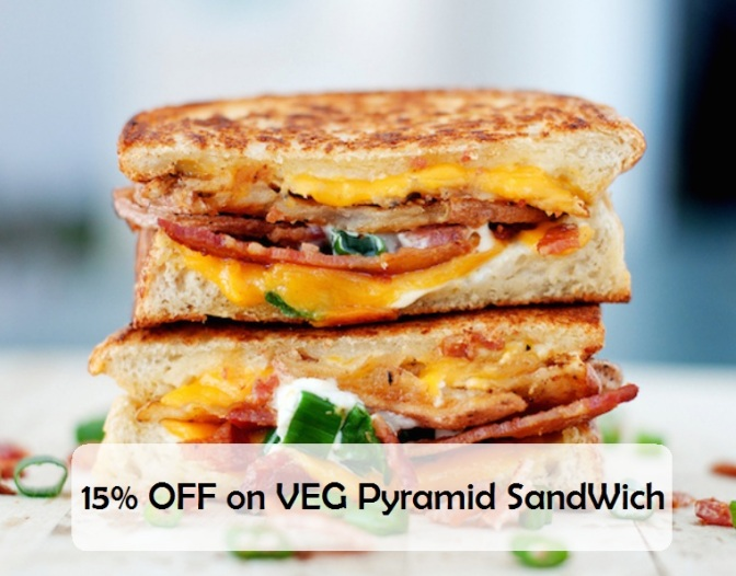 15% off on veg pyramid sandwich