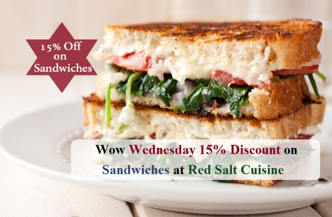 Wednesday 15% Discount on Sandwiches